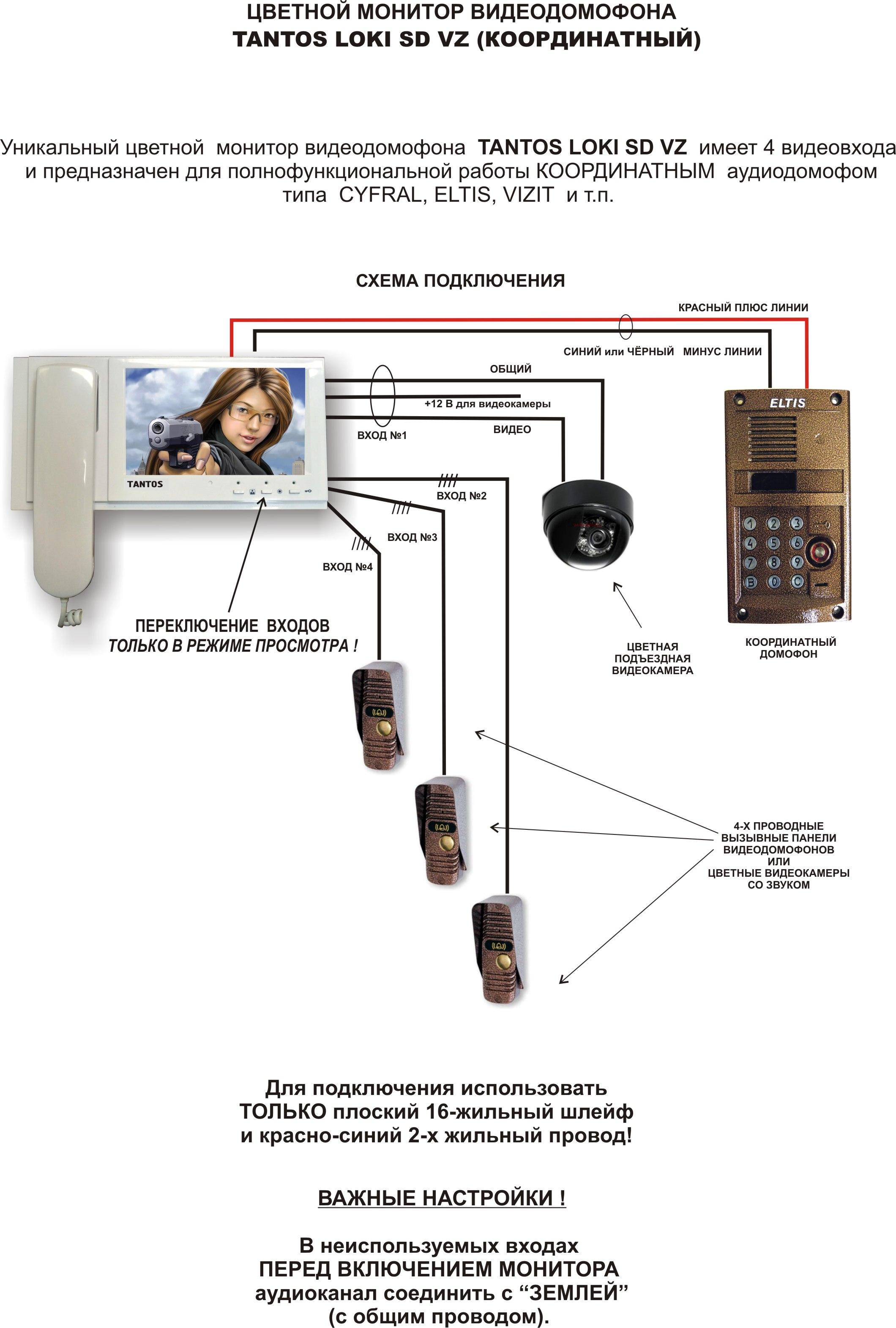 Подключение к подъездному домофону визит схема6